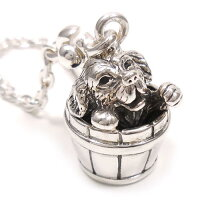 サツルノ:樽に入った犬のシルバーキーホルダー