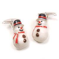 サツルノ:雪だるまのシルバーカフスボタン