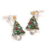 サツルノ:クリスマスツリーのシルバーカフスボタン