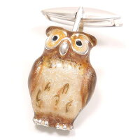 サツルノ:フクロウのシルバーカフスボタン