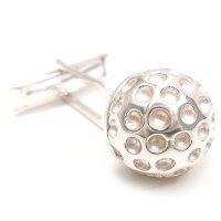 サツルノ:ゴルフボールのシルバーカフスボタン
