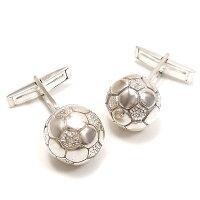 サツルノ:サッカーボールのシルバーカフスボタン