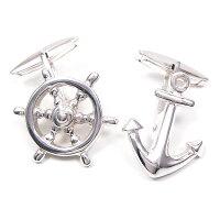 サツルノ:舵輪と錨のシルバーカフスボタン