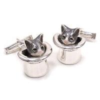 サツルノ:帽子に入った猫のシルバーカフスボタン