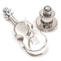 サツルノ:バイオリンのシルバーピンブローチ