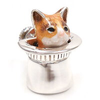 サツルノ:帽子に入った猫のシルバーピンブローチ