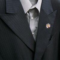 サツルノ:てんとう虫と花のシルバーピンブローチ