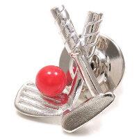 ゴルフクラブとボールのシルバーブローチ