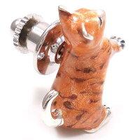 サツルノ:猫のシルバーピンブローチ
