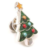 サツルノ:クリスマスツリーのシルバーピンブローチ