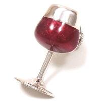 サツルノ:ワイングラスのシルバーピンブローチ