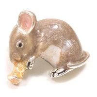 サツルノ:ネズミのシルバーピンブローチ