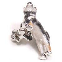 サツルノ:柴犬のシルバーピンブローチ