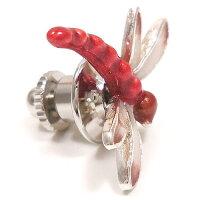 サツルノ:赤トンボのシルバーピンブローチ