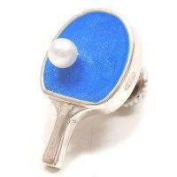 サツルノ:卓球ラケットのシルバーピンブローチ