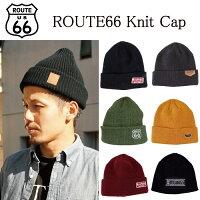 【メール便送料無料】ROUTE66ニット帽ワンポイント刺繍ワッチ