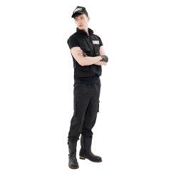 SWAT(ポリス)の男性用コスプレ衣装!このコスチュームを着ればハロウィンで大人の男性も格好...