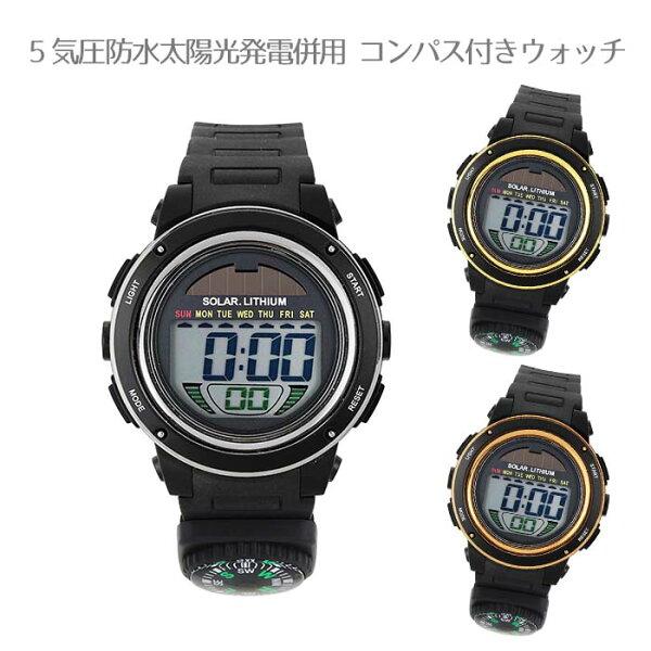 腕時計ユニセックス 5気圧防水太陽光発電併用コンパス付きウォッチ ゴールド/ブラック/ピンクゴールド/ACY19 腕時計おしゃ