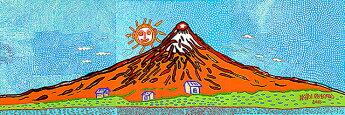 草間彌生(KUSAMAYAYOI)生命は限りなく、宇宙に燃え上がって行く時手ぬぐい/YAYOIKUSAMA富士山