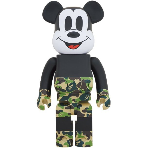 コレクション, フィギュア Medicom 1000 Bearbrick A Bathing Ape Bape x Mickey Mouse green