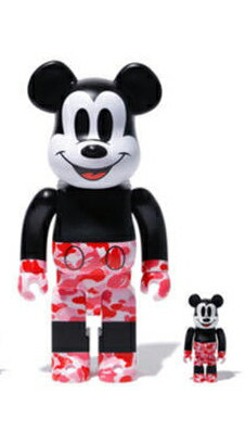 コレクション, フィギュア Medicom 400 100 Bearbrick A Bathing Ape Bape x Mickey Mouse pink