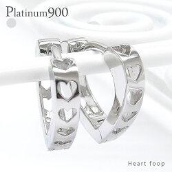 pt900中折れ式ハートフープピアスプラチナ900レディースジュエリー【送料無料】
