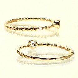 【送料無料】ピンキーリングK10ゴールド天然ダイヤモンドミル打ち風アンティーク小指指輪レディース