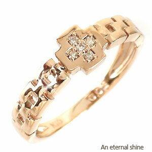 【送料無料】ダイヤモンド ピンキーリング 0.02ct K10イエローゴールド K10YG 指輪 クロス 十字架【コンビニ受取対応商品】 ホワイトデー プレゼント