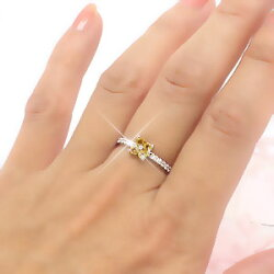 【送料無料】シトリントパーズ/ダイヤモンドリング0.10ctプラチナ900(PT900)一粒フラワー小指ピンキーリングミディリングファランジリング11月誕生石指輪レディース