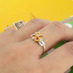 【送料無料】四つ葉のクローバーシトリントパーズダイヤモンドリング0.04ctK18ゴールド18金よつば小指ピンキーリングミディリングファランジリング11月誕生石指輪レディース