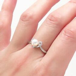 【送料無料】アコヤパール(本真珠)ハートリングダイヤモンド0.02ct6月の誕生石K18ホワイトゴールドK18WG指輪入学式卒業式母の日