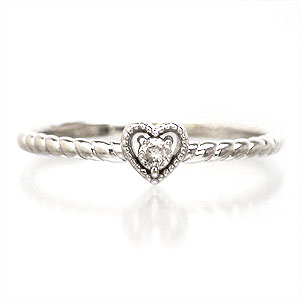 【送料無料】ダイヤモンドリング K10ゴールド ハート ピンキーリング 指輪【コンビニ受取対応商品】 ホワイトデー プレゼント