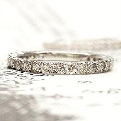 【送料無料】ダイヤモンドリングハーフエタニティプラチナ900PT9001.00ctシンプル一文字ストレートツメ指輪レディース