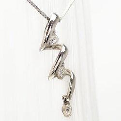【送料無料】天然ダイヤモンドペンダント・ネックレスK18ホワイトゴールド(K18WG)