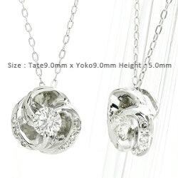 【送料無料】ダイヤモンドフラワーネックレス0.20ct花プラチナ900(PT900)