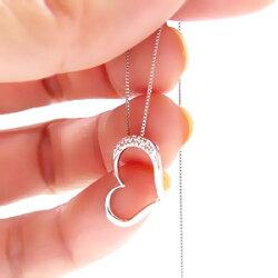 【送料無料】ダイヤモンドネックレスオープンハートプラチナ900(PT900)0.03ct