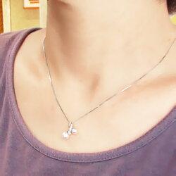 【送料無料】アコヤパール(本真珠)ネックレス6月の誕生石ダイヤモンド0.02ctK18ホワイトゴールドK18WGペンダント入学式卒業式母の日