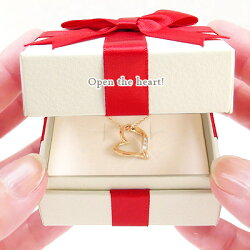 ダイヤモンドオープンハートネックレス10金K10ゴールドダイヤモンド0.03ctペンダントレディースジュエリークリスマス誕生日プレゼント【送料無料】