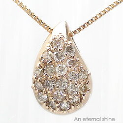 【送料無料】天然ダイヤモンド0.20ct×K18ゴールドティアドロップ(涙型)ネックレス・ペンダントしずくツユ