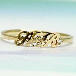 【送料無料】オーダーネームリング2月誕生石アメジストK10ゴールド10金指輪イニシャル名前オリジナルレディースジュエリー【_包装】