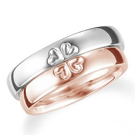 ペアリング(2本セット) 結婚指輪 マリッジリング K18ピンク&ホワイトゴールド リングを合わせると四葉のクローバー 《Lelier M0709》 【刻印無料 ケース付き 】 【RCP】 【532P17Sep16】