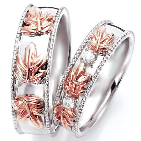 ペアリング(2本セット) 結婚指輪 マリッジリング ハワイアンジュエリー 結婚記念 K18ホワイトゴールド&ピンクゴールド ダイヤモンドリング 《NaniKii M0735V》 【刻印無料 ケース付き 】 【RCP】 【532P17Sep16】