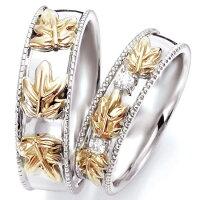 ペアリング(2本セット)結婚指輪マリッジリングハワイアンジュエリー結婚記念プラチナ900/K18イエローゴールドダイヤモンドリング《NaniKiiM0735V》【刻印無料ケース付き送料無料】【RCP】【0601カード分割】