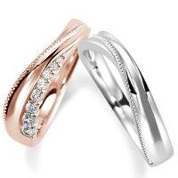 ペアリング(2本セット)結婚指輪マリッジリング結婚記念K18ピンク&ホワイトゴールドダイヤモンドリング《NourishM0846》【刻印無料ケース付き送料無料】【RCP】【0601カード分割】