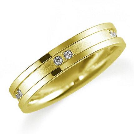 ペアリング(女性用) 結婚指輪 マリッジリング 鍛造製法 K18イエローゴールド ダイヤモンドリング 《Solid M0820L》 【刻印無料 ケース付き 】 【RCP】 【532P17Sep16】