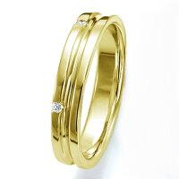 ペアリング(女性用)結婚指輪マリッジリング結婚記念K18イエローゴールドダイヤモンドリング《WishM0251L》【刻印無料ケース付き送料無料】【RCP】【0601カード分割】