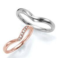 ペアリング(2本セット)結婚指輪マリッジリング結婚記念K18ピンク&ホワイトゴールド《WishM0240》ダイヤモンドリングギフト【刻印無料ケース付き送料無料】【RCP】【0601カード分割】
