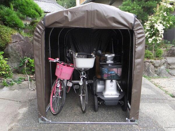 サイクルハウス幅156cm×奥行220cm×高さ165cm3台用耐久性抜群ターポリン生地パイプ車庫農具収納自転車置場組立簡単DI