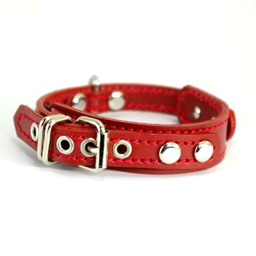 小型犬用2cm幅革首輪:Small Type GB 赤