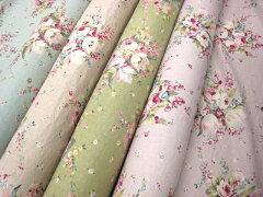 特価 1m単位 YUWA 花柄 綿麻タンブラー加工 広巾 アンティークフラワー